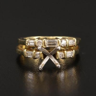 18K Diamond Semi-Mount Ring Set