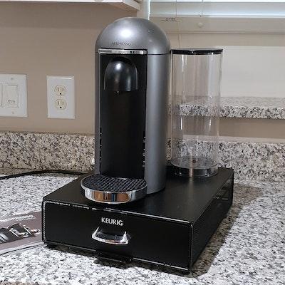 Nespresso Vertuo Plus Espresso Machine and Keurig Storage Drawer