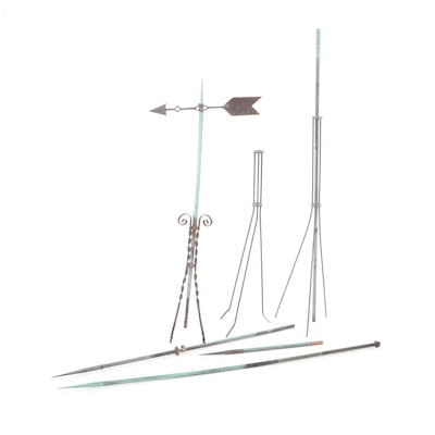 Victorian Style Copper Lightning Rods and Weather Vane