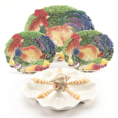 "Fitz and Floyd Ceramic ""Coq du Village"" Platters with ""Seascape"" Bowl"