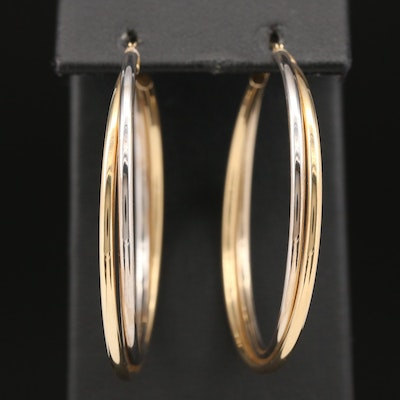 14K Two Tone Gold Crossover Hoop Earrings