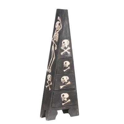 Ebonized Wood Pyramid Cabinet with Painted Skeleton Decorations