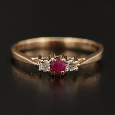 14K Ruby and Diamond Three Stone Ring