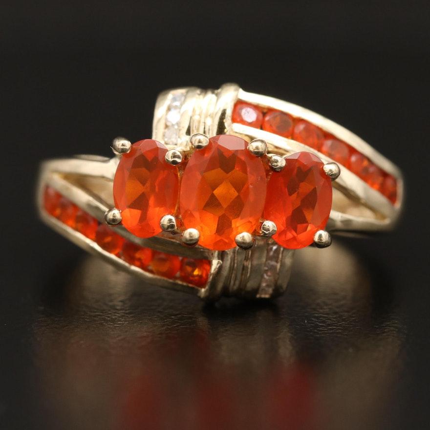 10K Fire Opal and Diamond Bypass Ring