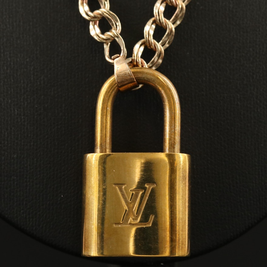 Louis Vuitton Padlock on Double Curb Chain Necklace