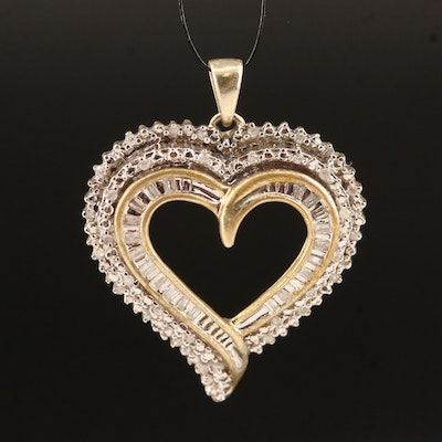 Sterling Diamond Open Heart Pendant