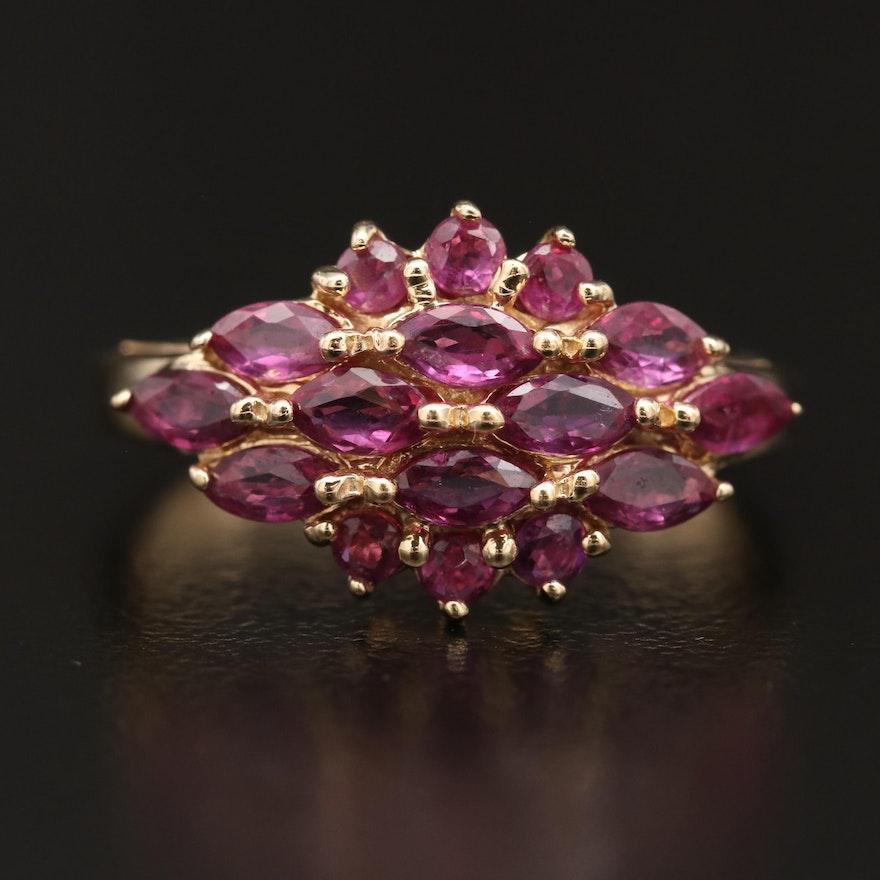 14K Ruby Cluster Ring