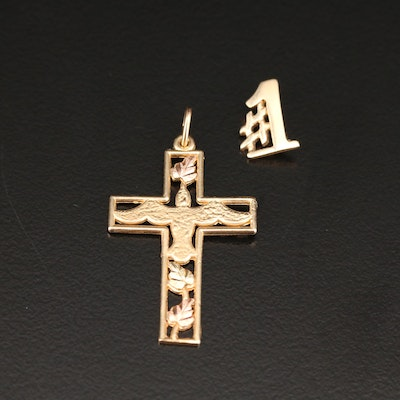 14K #1 Pendant and 10K Rose, Green and Yellow Gold Cross with Dove Pendant