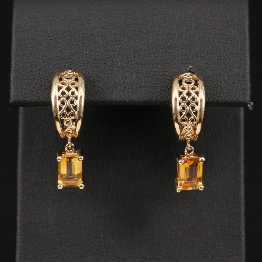 14K Citrine J-Hoop Earrings
