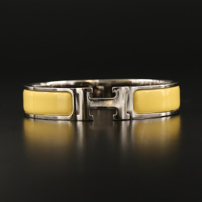 "Hermès ""Clic H"" Citron Yellow Hinged Bangle"