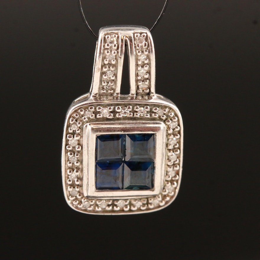 Sterling Silver Sapphire and Diamond Square Pendant