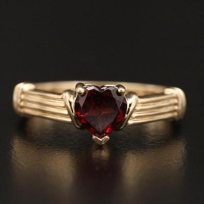 10K Garnet Heart Ring