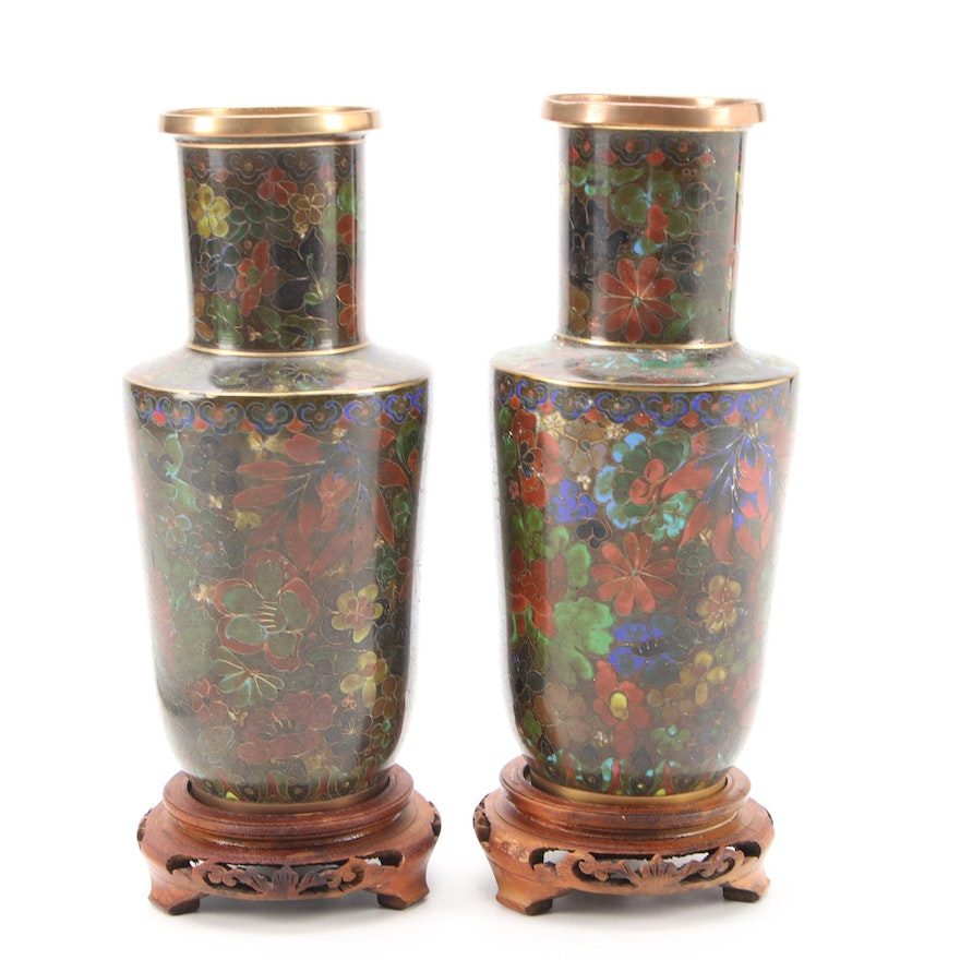 Pair of Chinese Floral Motif Cloisonné Vases with Wooden Stands
