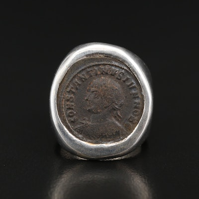 "950 Silver Ring with Circa 330 A.D. Constantine I, ""The Great"" Coin"