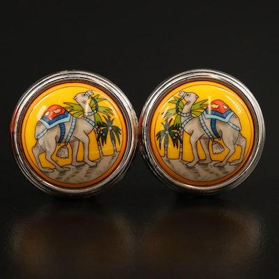 Hermès Non-Pierced Button Camel Motif Earrings