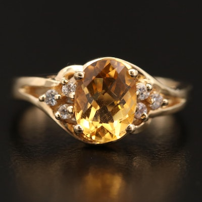 14K Citrine and Sapphire Ring