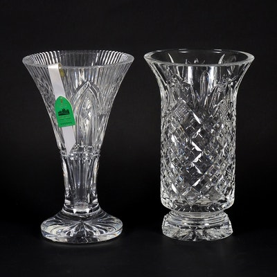 "Waterford Crystal ""Rock of Cashel"" and ""Archive"" Vases, Late 20th Century"