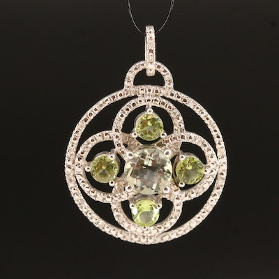 Sterling Prasiolite, Peridot and Diamond Pendant
