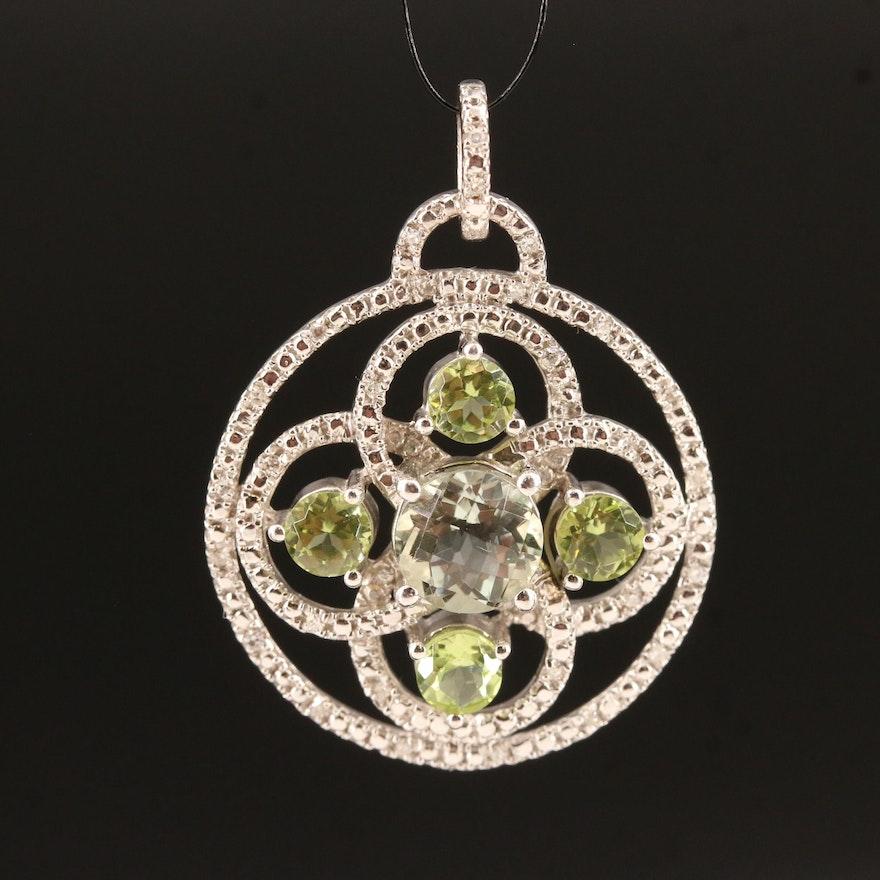 Sterling Prasiolite, Peridot and Diamond Pendant