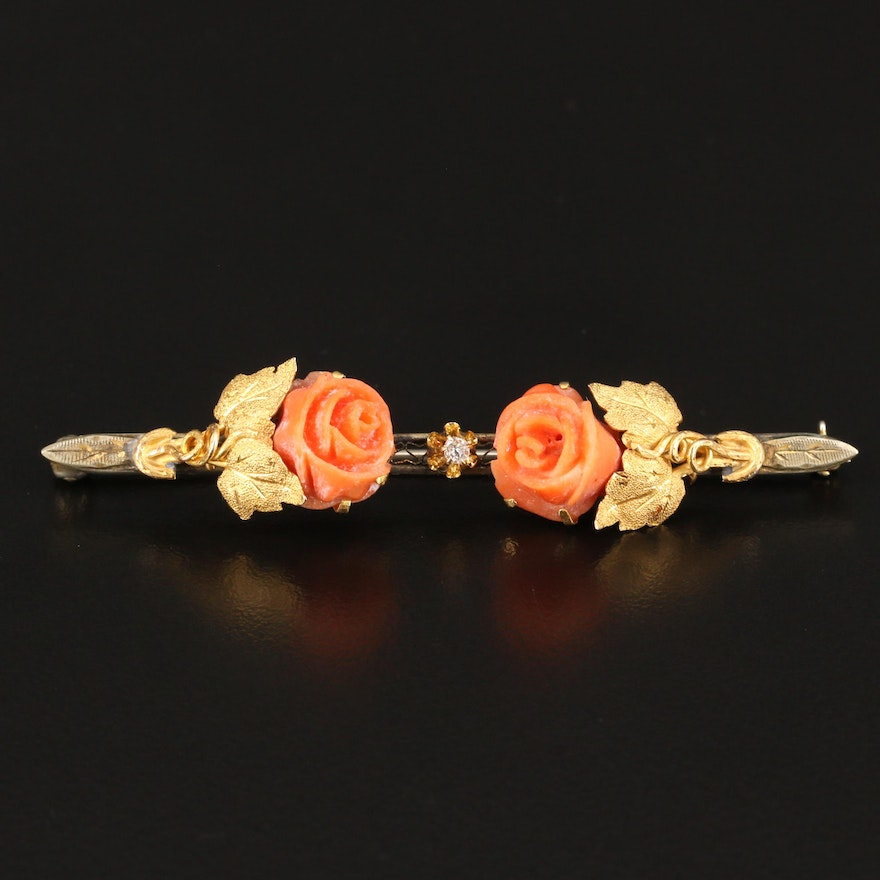 Vintage 14K Carved Coral Rose Brooch with Diamond Accent