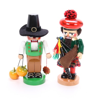 Steinbach Handmade German Apple Picker and Bagpiper Nutcrackers