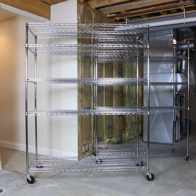 Trinity Heavy Duty Chrome Wire 5-Self Storage Racks on Casters