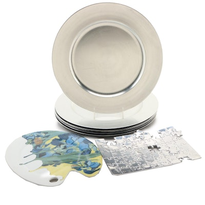 Van Gogh Style Porcelain Cheese Palette, with Puzzle Tray and Chargers