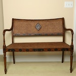 """Hand-Painted """"Griswold"""" Cane Back Settee Bench"""