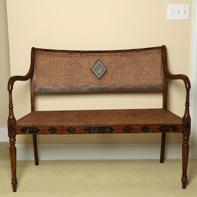 "Hand-Painted ""Griswold"" Cane Back Settee Bench"