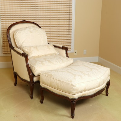 Henredon Upholstery Collection Louis XV Style Bergère Armchair and Ottoman