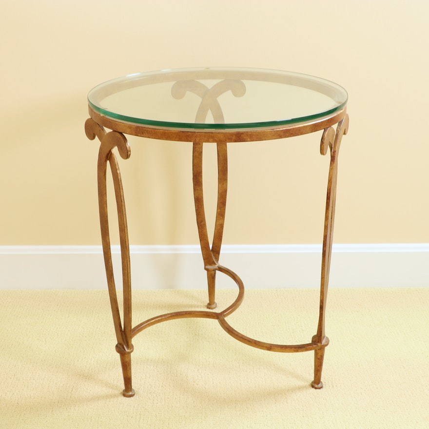 Faux Painted Iron and Glass Top Side Table from Hoffman & Albers Interiors