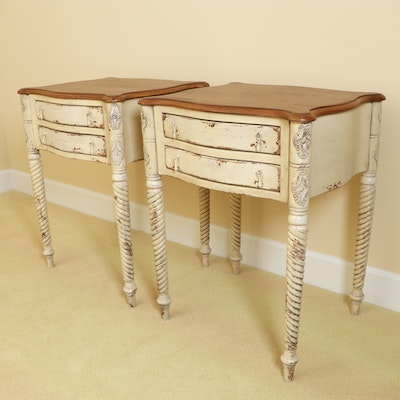 "Habersham ""Hatfield"" Carved Sandemar and Pearwood Finish Nighstands"