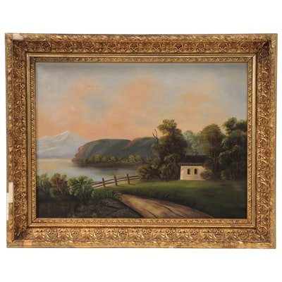 Landscape Oil Painting of Lake Scene, Mid 20th Century