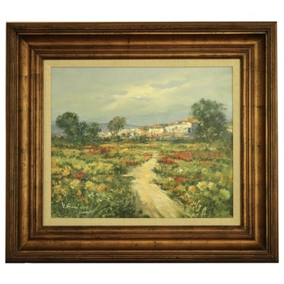 "V. Aurino Landscape Oil Painting ""Italian Village"""