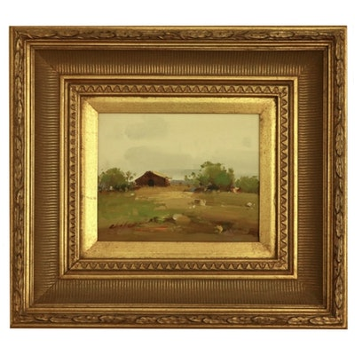 "Landscape Oil Painting ""Farm Scene"""