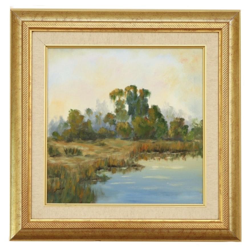 """Landscape Oil Painting """"Marsh"""""""