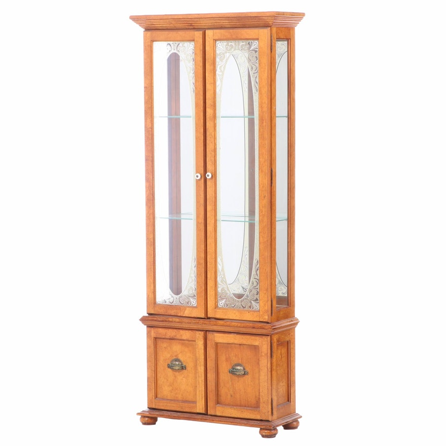 Wood and Etched Glass Curio Cabinet