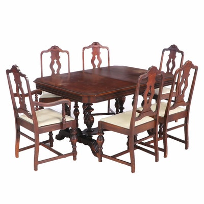 Jacobean Revival Walnut Dining Table And Chairs, 1920s