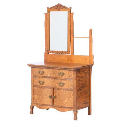 Late Victorian Oak Washstand, Late 19th or Early 20th Century