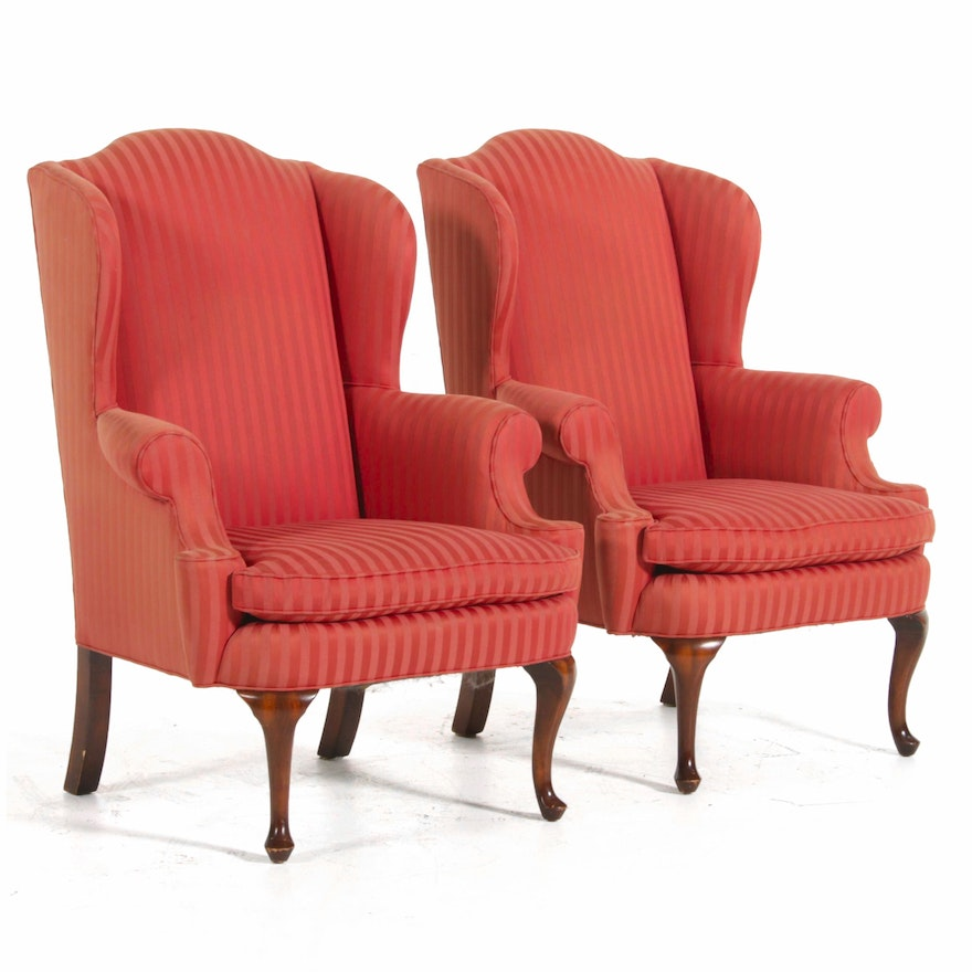 "Pair of Henredon ""Custom Folio"" Queen Anne Style Upholstered Wingback Chairs"