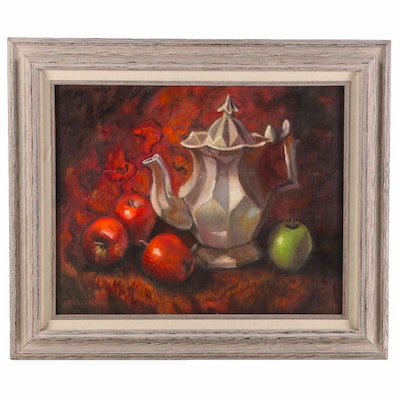 "Jane Bickford Oil Painting ""Teapot & Apples"""