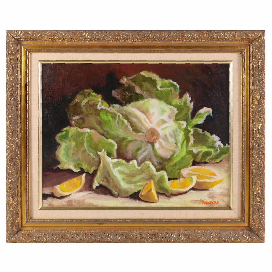 "Jane Bickford Oil Painting ""Lettuce"", Late 20th to 21st Century"