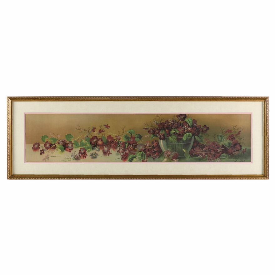 Lithographic Print of Violets