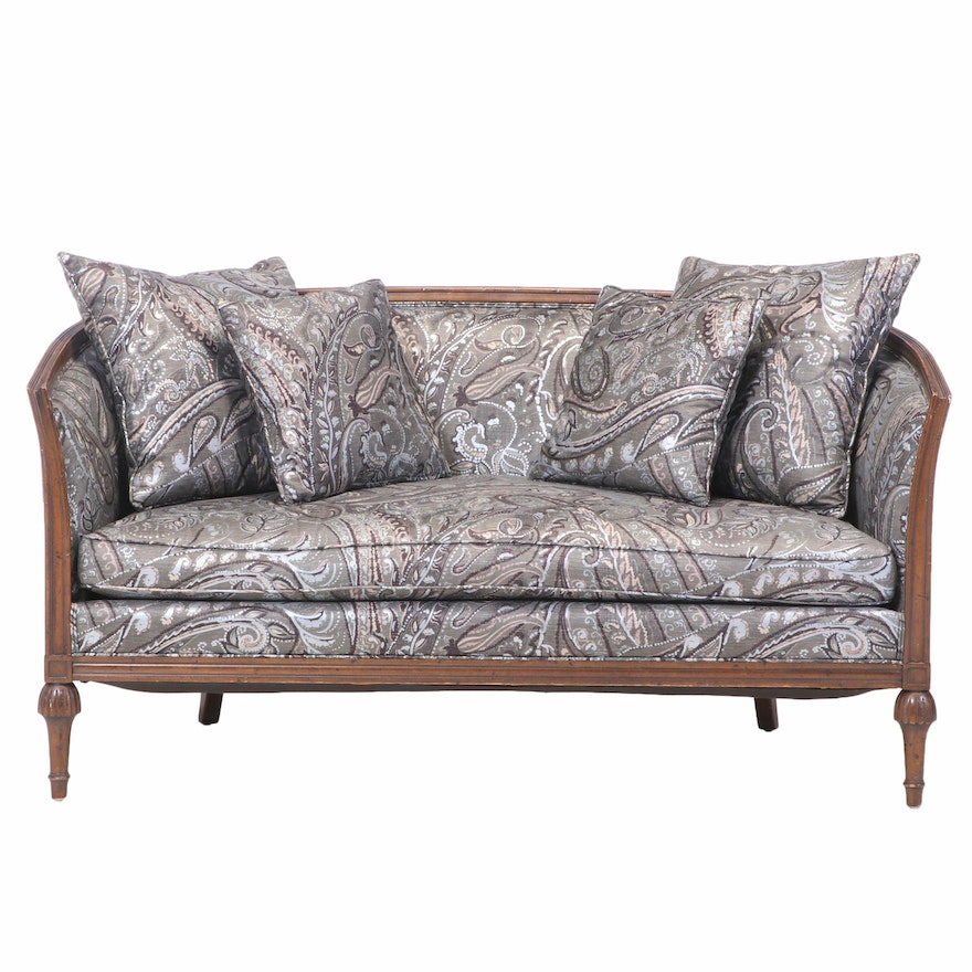 Heritage Furniture Louis XVI Style Walnut-Stained and Custom-Upholstered Settee