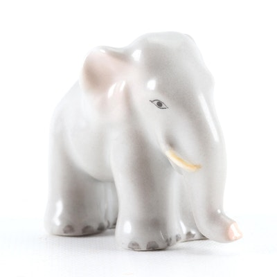 "Herend Natural ""Miniature Elephant"" Porcelain Figurine, June 1999"