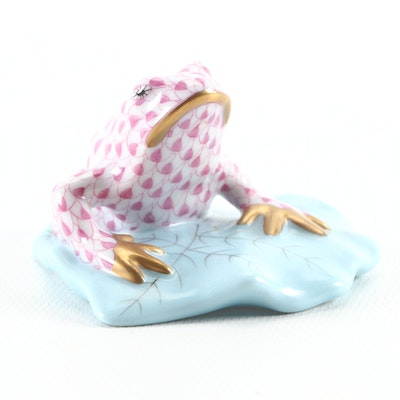 "Herend Pink Fishnet ""Frog on Lily Pad"" Porcelain Figurine, October 1993"