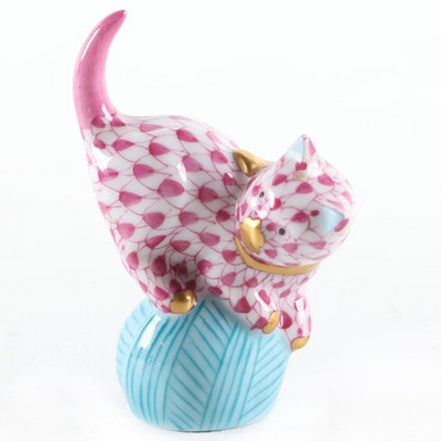 "Herend Pink Fishnet with Gold ""Mischievous Cat"" Porcelain Figurine, January 2000"