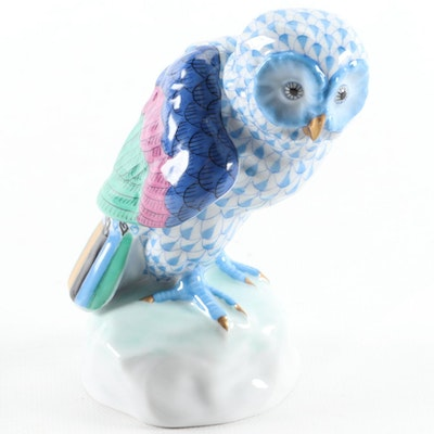 "Herend Blue Fishnet with Gold ""Owl"" Porcelain Figurine"