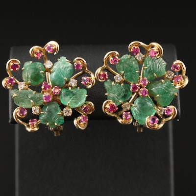 14K Emerald, Ruby and Diamond Floral Button Earrings