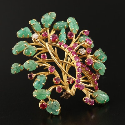 14K Emerald, Ruby and Diamond Fur Foliate Fur Brooch